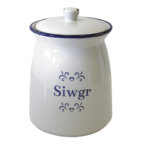 Storage Jar - Blue & White Ceramic - Siwgr - Sugar