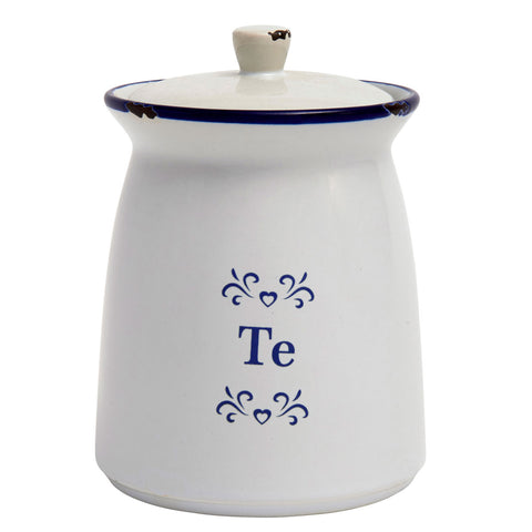 Storage Jar - Blue & White Ceramic - Te - Tea-The Welsh Gift Shop
