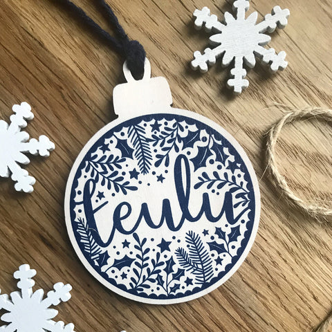 Christmas Decoration - Wooden - Teulu / Family