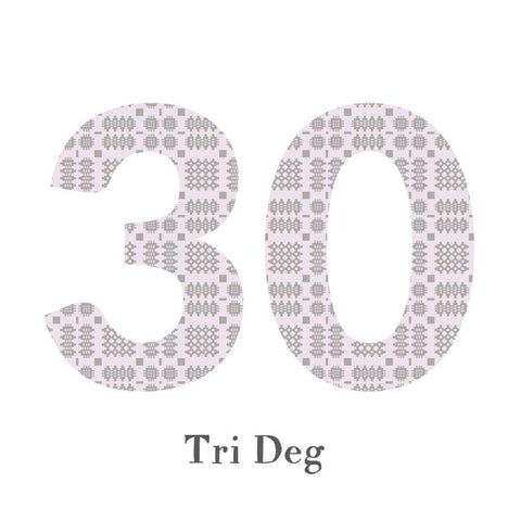 Card - Birthday / Anniversary - Tri Deg - 30-The Welsh Gift Shop