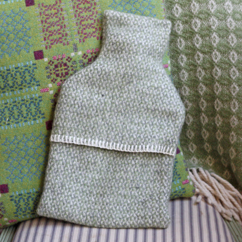 Hot Water Bottle - Luxury New Wool - Green Grey