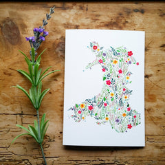 Card - Floral Map of Wales
