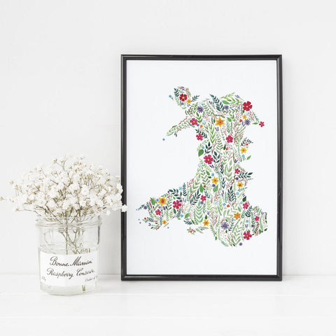 Print - Floral Map of Wales - A4