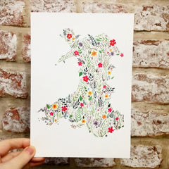 Print - Floral Map of Wales - A5