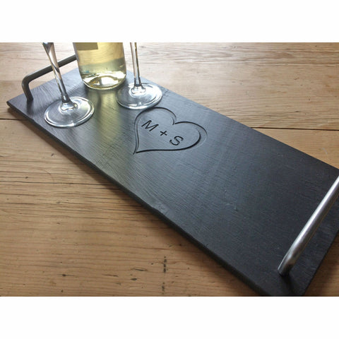 Cheese Board - Welsh Slate - Heart Initials