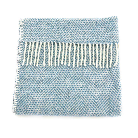 Baby Pram Blanket - New Wool - Beehive Blue