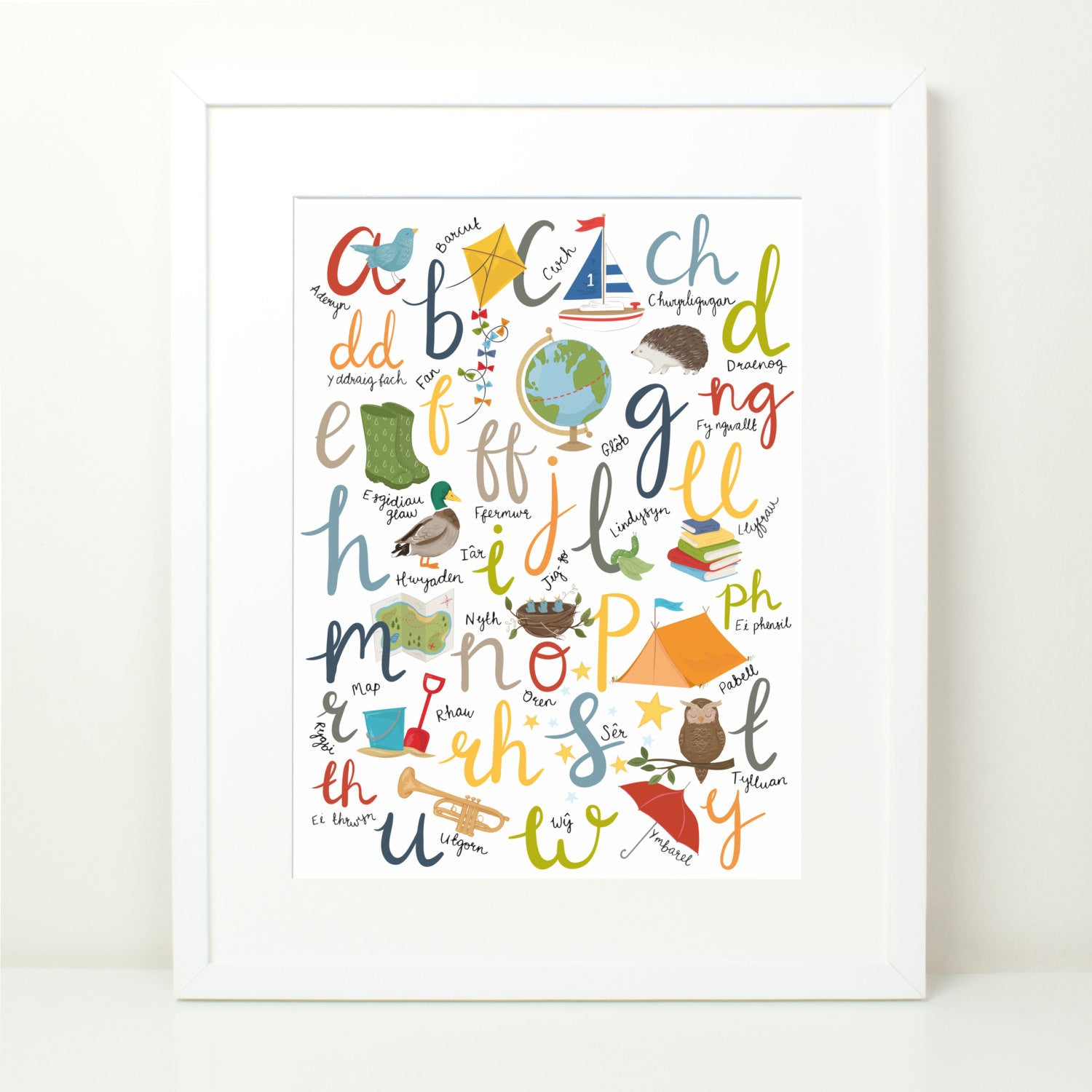 Print - Y Wyddor - Welsh Alphabet - Bechgyn / Boys-Picture / SIgn-The Welsh Gift Shop