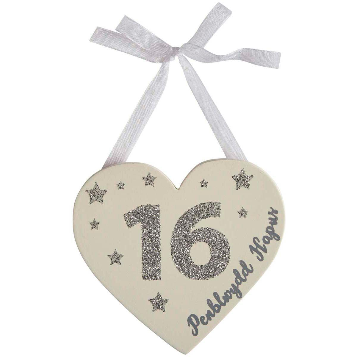 Heart Decoration - Penblwydd Hapus / Happy Birthday - Age-The Welsh Gift Shop
