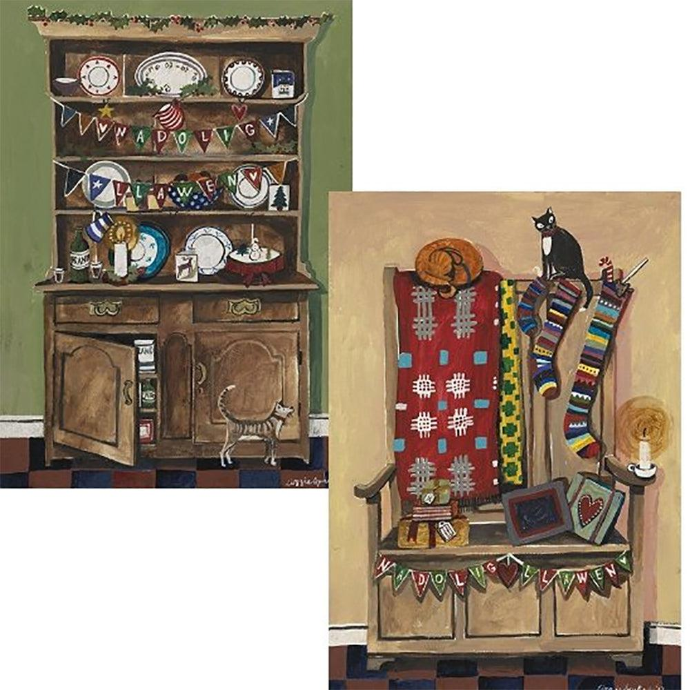 Christmas Cards - Welsh Dresser & Box Settle - Set of 6