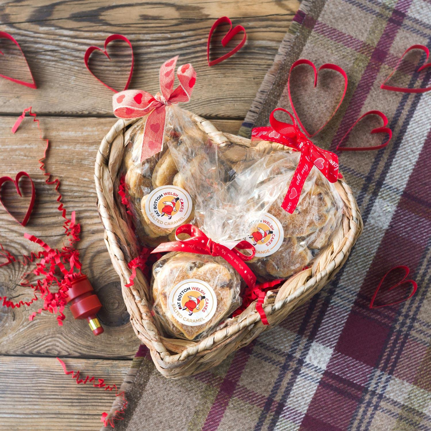Heart Hamper - Fat Bottom - Welsh Cake Hearts - 1st Class Postage Included