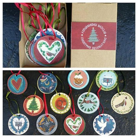 Christmas Decorations Set - Card Baubles - Box of 12-The Welsh Gift Shop