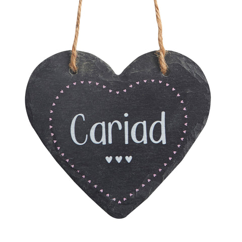 Slate Hanging Heart - Cariad - Love