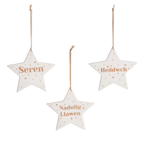 Christmas Decoration - Welsh star - Ceramic