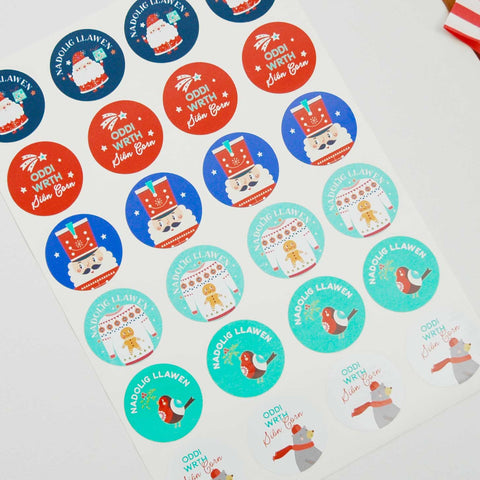 Stickers / Gift Labels - Nadolig Llawen - Assorted Circular x 24-The Welsh Gift Shop