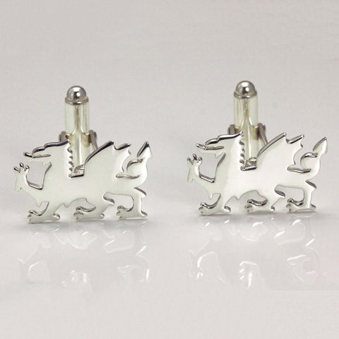 Cufflinks - Welsh Dragon - Sterling Silver or Gold Plated-Jewellery-The Welsh Gift Shop