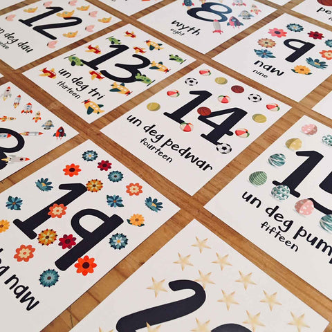 Welsh Flash Cards - Alphabet, Numbers and Colours