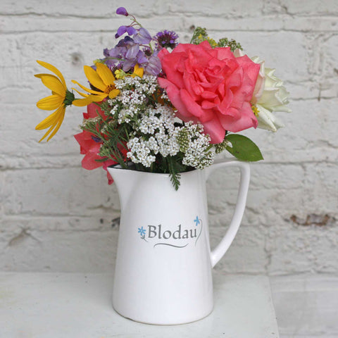 Jug / Vase - Flowers - Blodau - Large-The Welsh Gift Shop