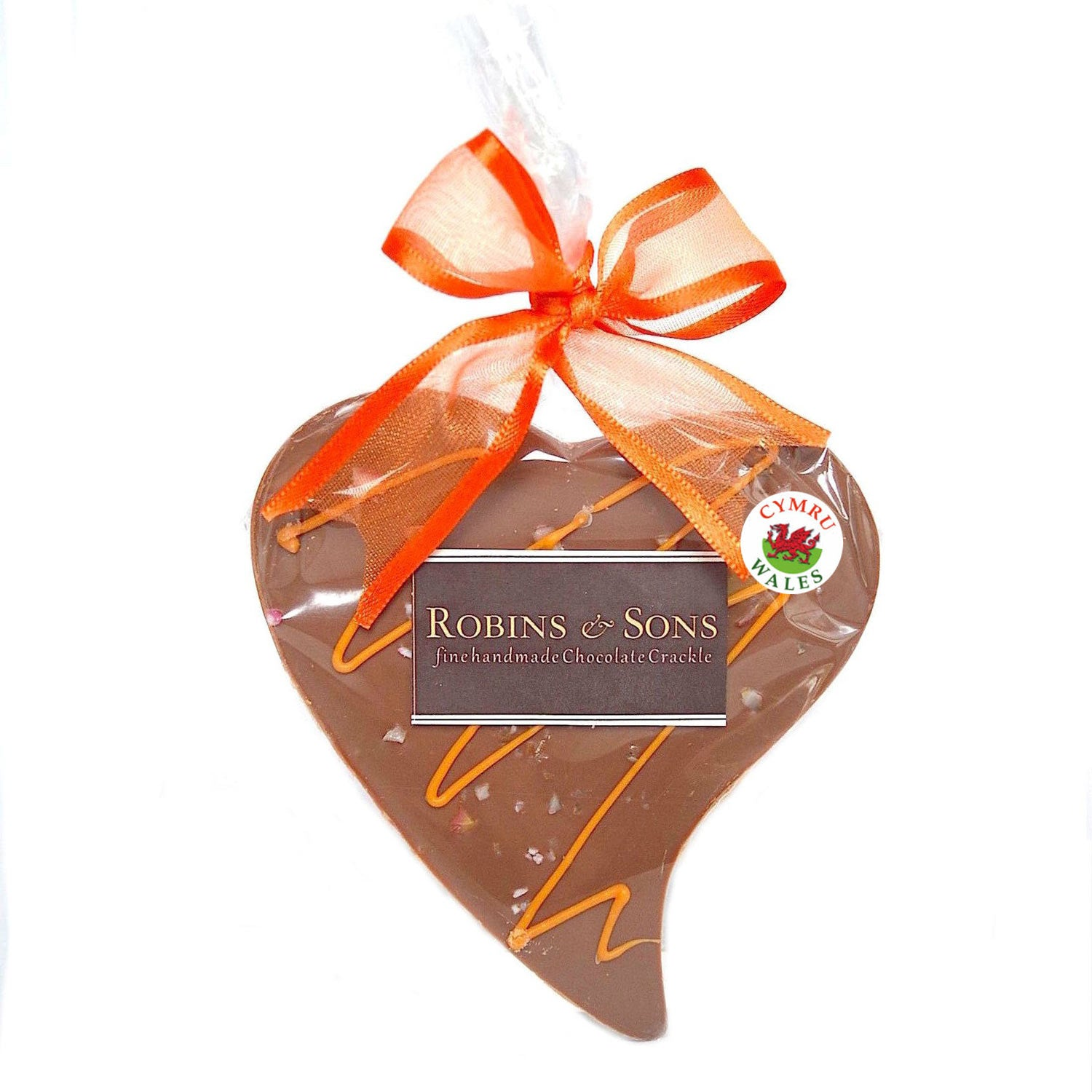 Chocolate Heart - Handmade in Wales - Orange Crackle - Milk