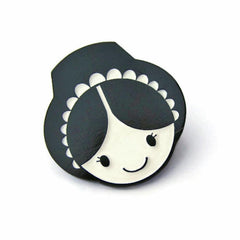 Brooch / Badge / Pin  - Enamel - Welsh Lady