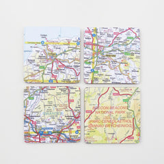 Set of 4 Coasters - Welsh Map - Choose your Location-Kitchen-The Welsh Gift Shop