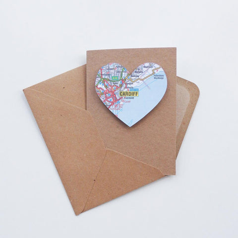 Card - Welsh Map Heart - Choose Your Location-Card-The Welsh Gift Shop