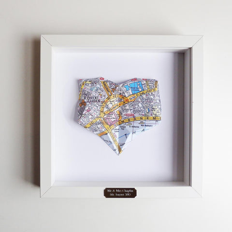 Framed Welsh Map - Origami Heart - Choose your Location-Picture / SIgn-The Welsh Gift Shop