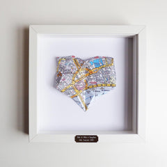 Framed Welsh Map - Origami Heart - Choose your Location