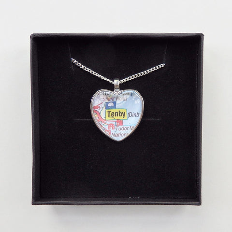 Necklace - Welsh Map Heart - Choose your Location-Jewellery-The Welsh Gift Shop