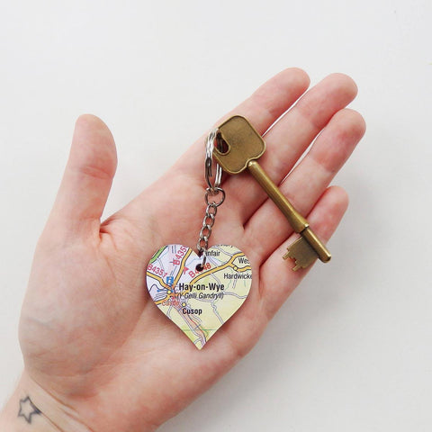 Keyring - Welsh Map Heart - Choose your Location-Accessory-The Welsh Gift Shop