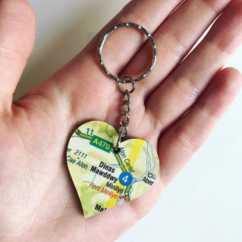 Keyring - Welsh Map Heart - Choose your Location