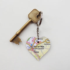 Keyring - Welsh Map Heart - Choose your Location-The Welsh Gift Shop