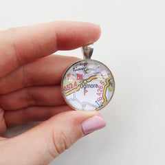 Necklace - Welsh Map Round - Choose your Location-Jewellery-The Welsh Gift Shop