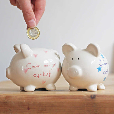 Piggy Bank - Cadw mi gei Cyntaf - My First Money Box-The Welsh Gift Shop