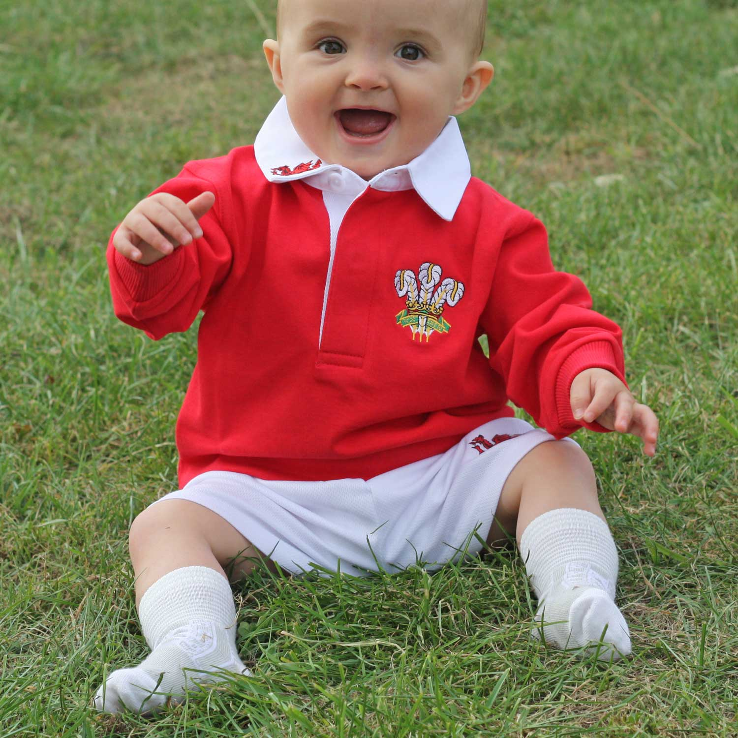 Welsh Rugby Shirt - Traditional Long Sleeve - Baby-The Welsh Gift Shop
