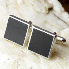 Cufflinks - Welsh Slate - 'Owain'-The Welsh Gift Shop