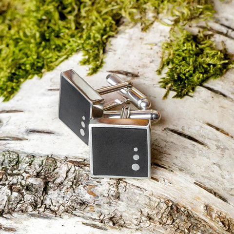 Cufflinks - Welsh Slate - 'Rhys'-The Welsh Gift Shop