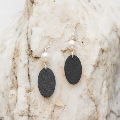 Earrings - Welsh Slate -  Pearl