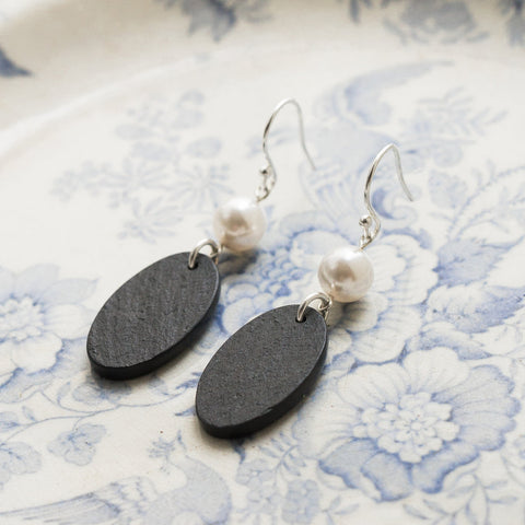 Earrings - Welsh Slate - Pearl-The Welsh Gift Shop