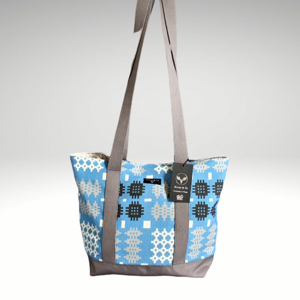 Shoulder Bag - Welsh Tapestry Print - Blue