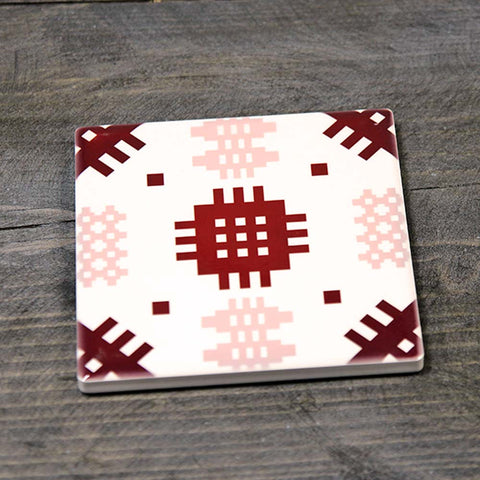 Coaster - Ceramic - Welsh Tapestry - Pink
