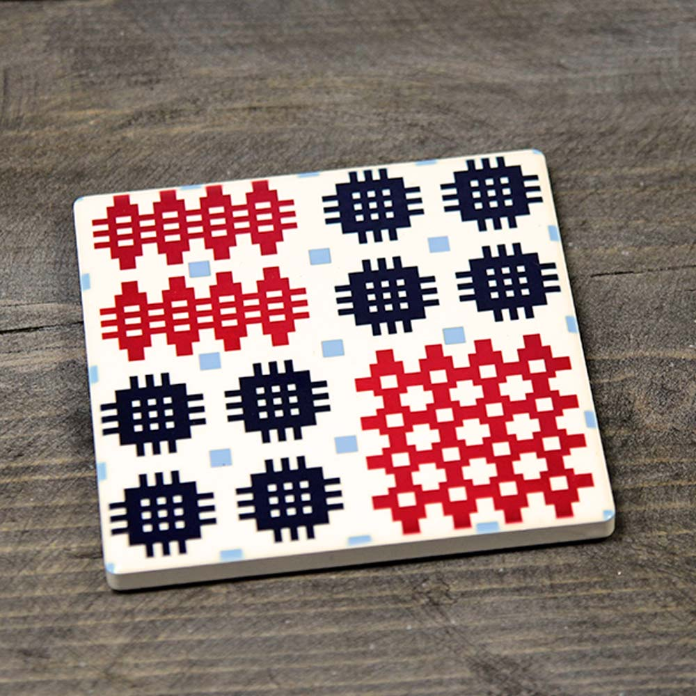 Coaster - Ceramic - Welsh Tapestry - Red