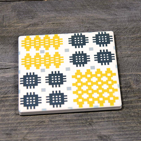 Coaster - Ceramic - Welsh Tapestry - Mustard