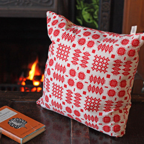 Cushion - Welsh Tapestry Print - Red