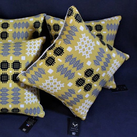 Cushion - Welsh Tapestry Print - Mustard