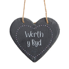 Slate Hanging Heart - Werth y Byd - Worth the World