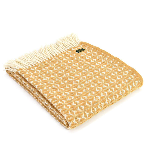 Throw / Blanket - New Wool - Welsh Cobweave - Mustard-Blanket / Throw-The Welsh Gift Shop