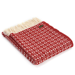 Throw / Blanket - New Wool - Welsh Cobweave - Red-Blanket / Throw-The Welsh Gift Shop
