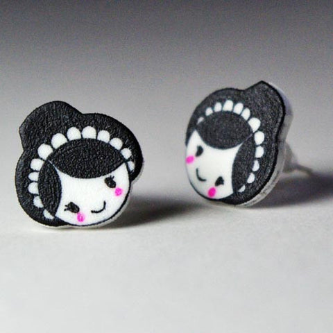 Earrings / Studs - Welsh Lady-Jewellery-The Welsh Gift Shop