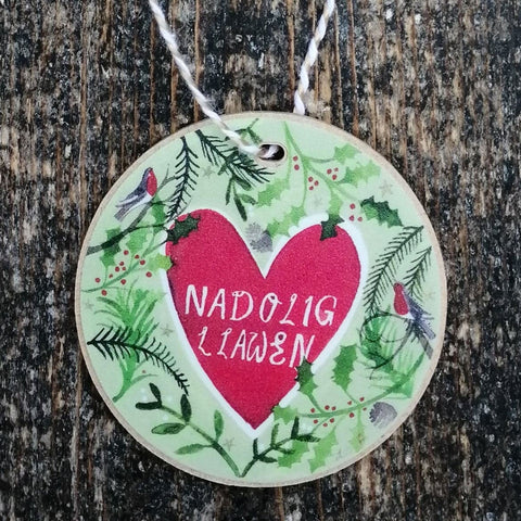 Decoration - Wooden - Merry Christmas - Nadolig Llawen