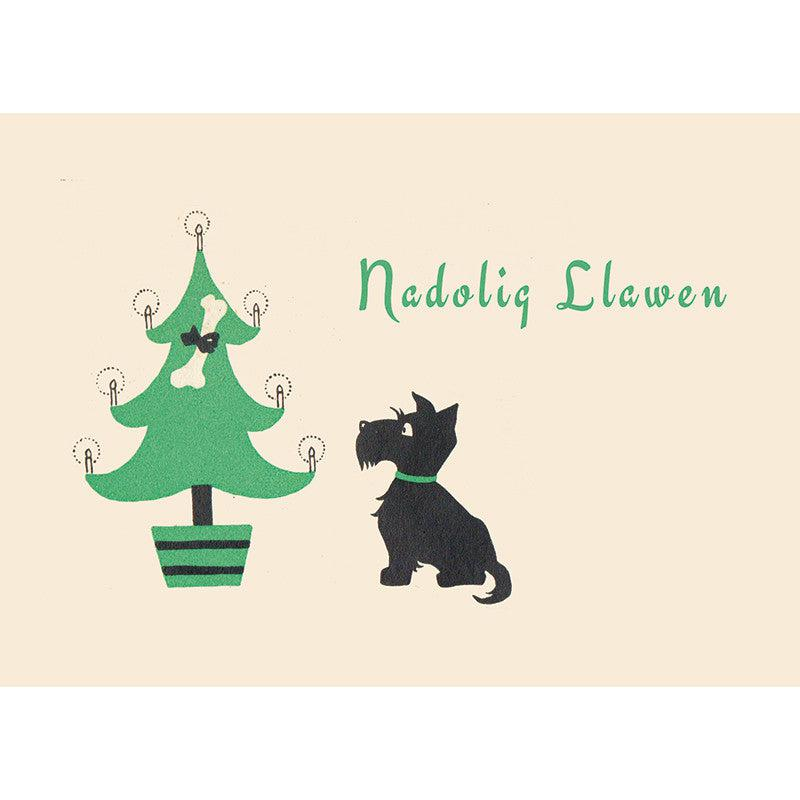 Card - Nadolig Llawen - Christmas Scottie Dog-Card-The Welsh Gift Shop